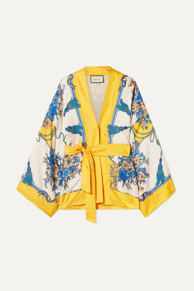 Gucci Tops Belted printed silk-twill top