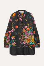 a5f1bc9d401 Gucci Oversized floral-print silk-twill shirt