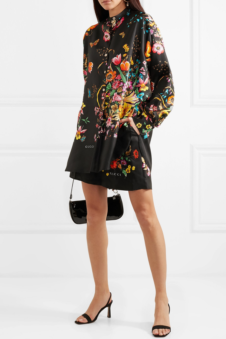 Gucci Oversized floral-print silk-twill shirt