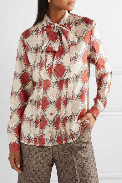 Gucci Tops Pussy-bow pintucked printed silk-twill blouse