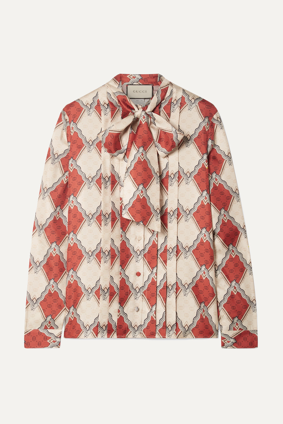 Gucci Pussy-bow pintucked printed silk-twill blouse