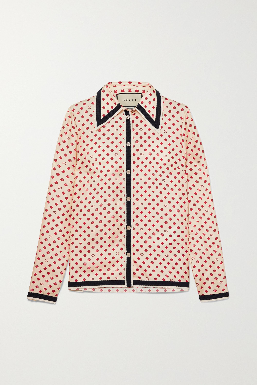 Gucci Grosgrain-trimmed printed silk-twill blouse