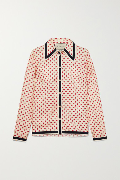 Grosgrain Trimmed Printed Silk Twill Blouse by Gucci