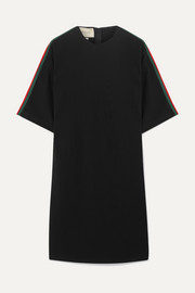 Gucci Oversized grosgrain-trimmed stretch-cady tunic