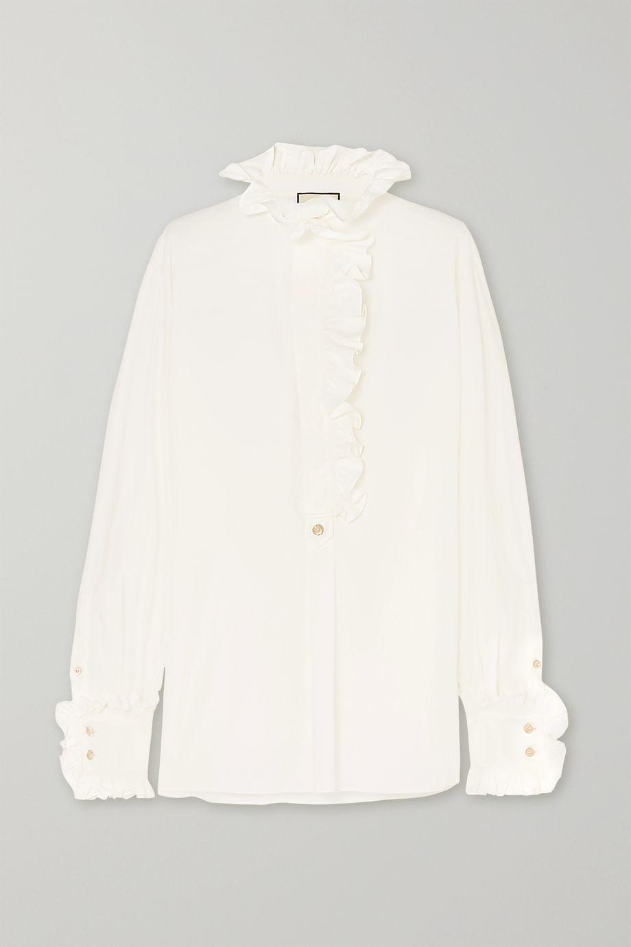 Gucci Ruffle-trimmed cotton-poplin shirt