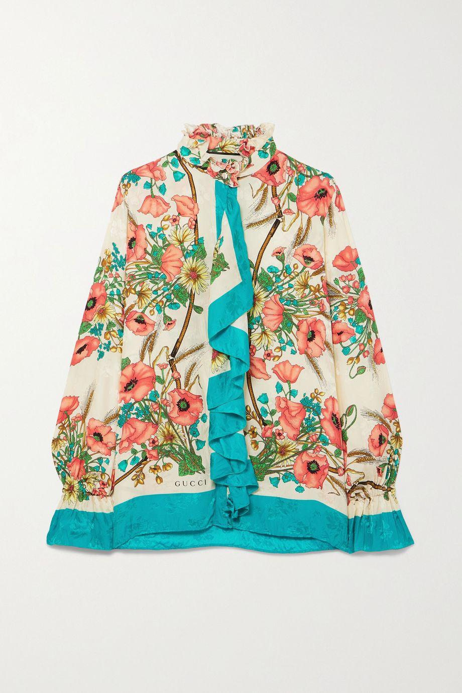 Gucci Ruffled floral-print silk-jacquard blouse