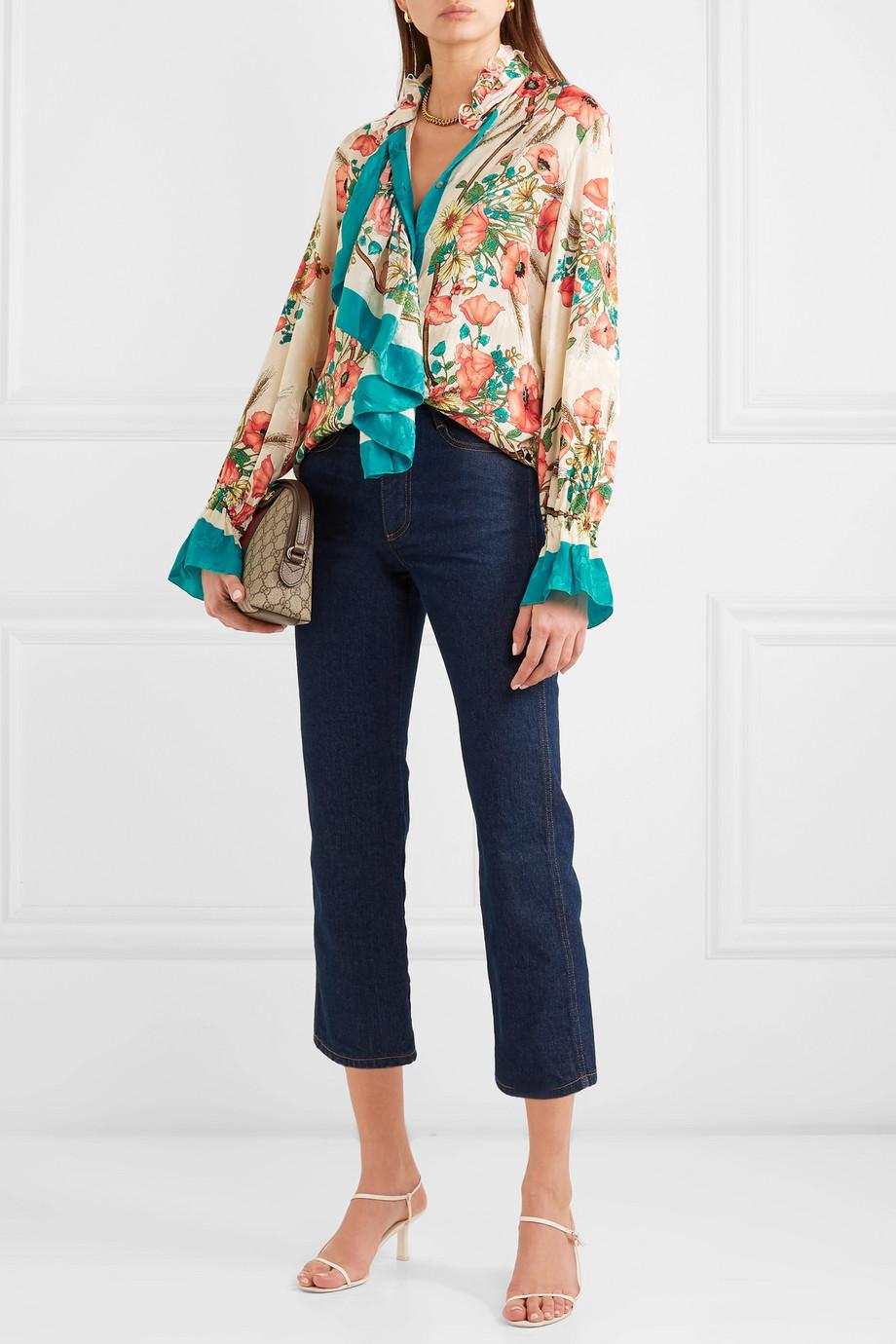 Gucci Bluse aus Seiden-Jacquard mit Blumenprint und Rüschen