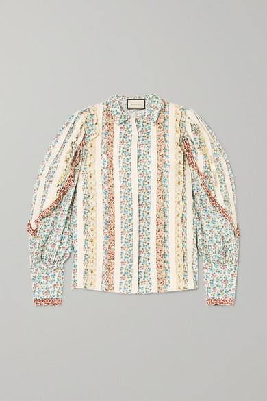 GUCCI | Gucci - Lace-paneled Ruffled Floral-print Cotton-poplin Shirt - Ivory | Goxip