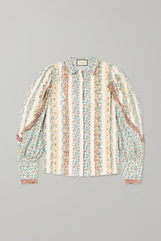 Gucci Lace-paneled ruffled floral-print cotton-poplin shirt