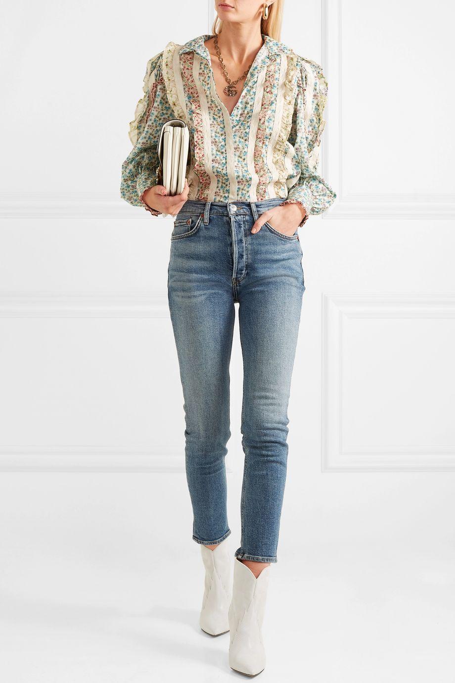 Gucci Lace-paneled ruffled floral-print cotton-poplin shirt