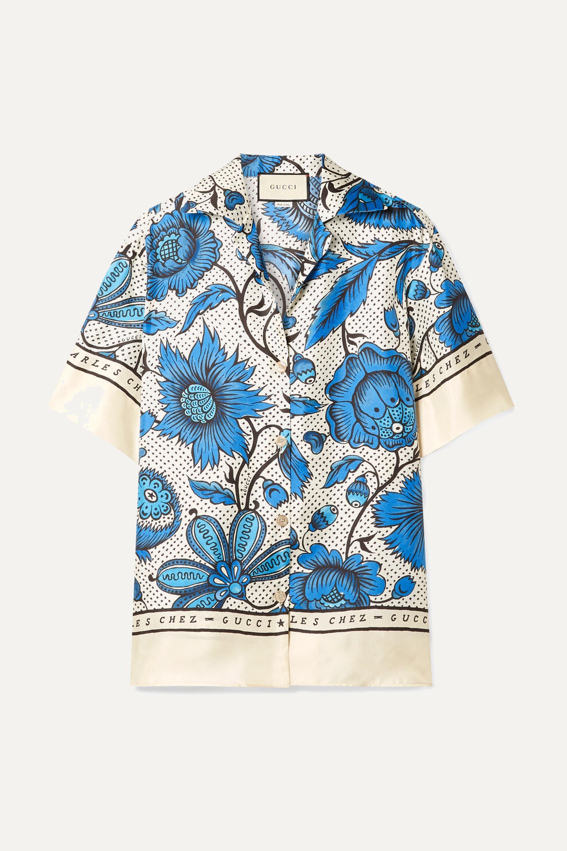 Gucci Floral-print silk-twill shirt