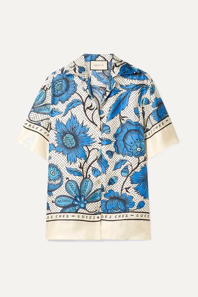 花卉印花真丝斜纹布衬衫 by Gucci