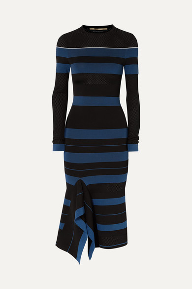 Olivier Perforated Striped Stretch-Knit Dress in Black