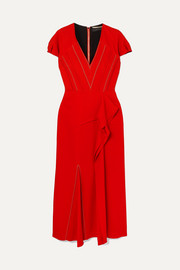 Bates ruffled crepe midi dress