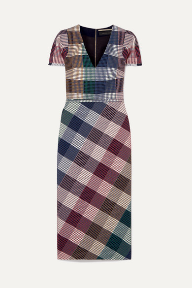 Chaney V-Neck Cap-Sleeve Plaid Sheath Midi Dress in Burgundy