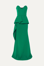Strapless wool-crepe peplum gown