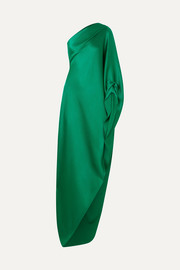 Roland Mouret Ritts asymmetric draped hammered silk-blend satin gown