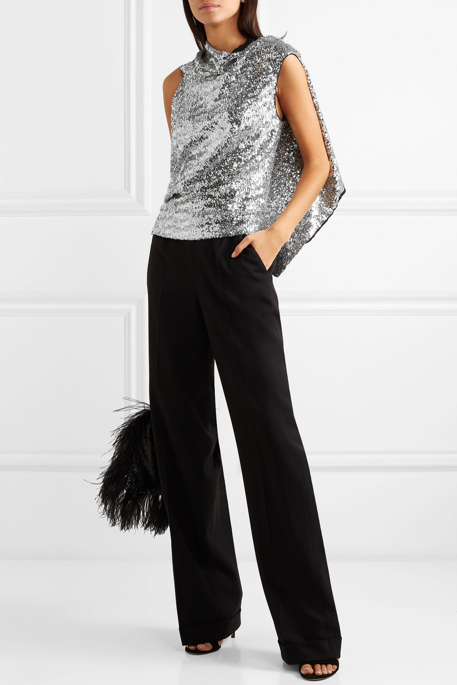 ROLAND MOURET Eugene open-back draped sequined crepe top - what to wear to a new year's party