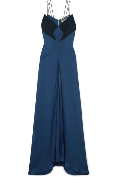 ROLAND MOURET Crepe-Paneled Hammered Silk-Blend Gown in Navy