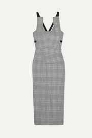 Roland Mouret Grosgrain-trimmed checked wool-blend midi dress