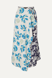 Floral-print cloqué and crepe de chine wrap skirt