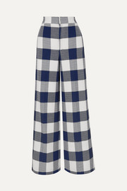 Delano checked cotton-blend bouclé wide-leg pants