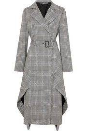 Pullman asymmetric belted Prince of Wales checked wool-blend coat