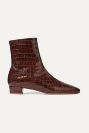 Este croc-effect leather ankle boots