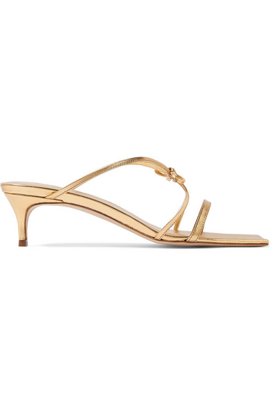 By Far  January bow-detailed metallic leather sandals