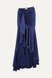 Elise ruched draped silk-satin maxi skirt