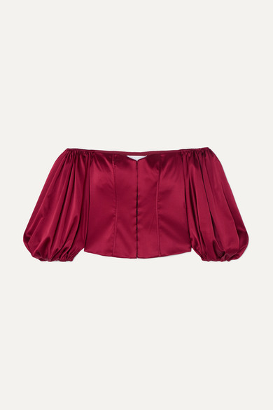CAROLINE CONSTAS | Caroline Constas - Belen Off-the-shoulder Silk-blend Satin Top - Burgundy | Goxip