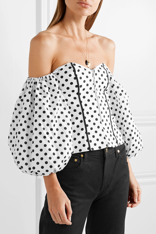 Caroline Constas Belen off-the-shoulder polka-dot cotton-blend poplin blouse