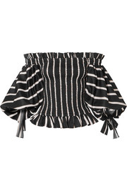 Coco off-the-shoulder shirred striped cotton-jacquard top