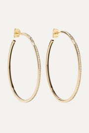 Medium Linear 14-karat gold and enamel diamond earrings
