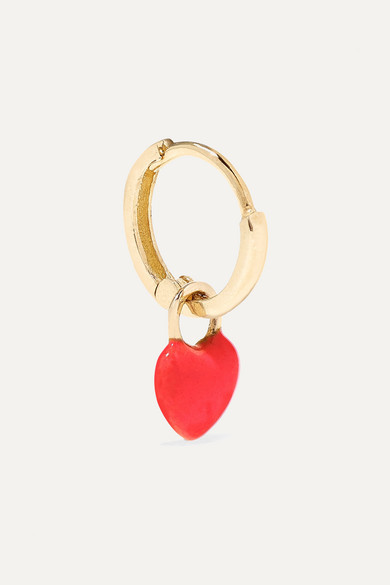 Tiny Heart Huggy 14-Karat Gold Enamel Hoop Earring
