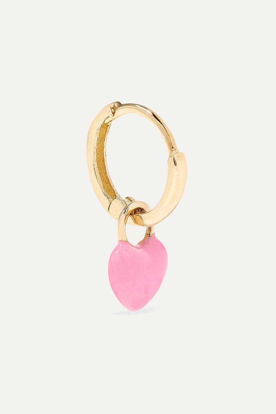 Alison Lou Tiny Heart Huggy 14K 黄金搪瓷单只耳环