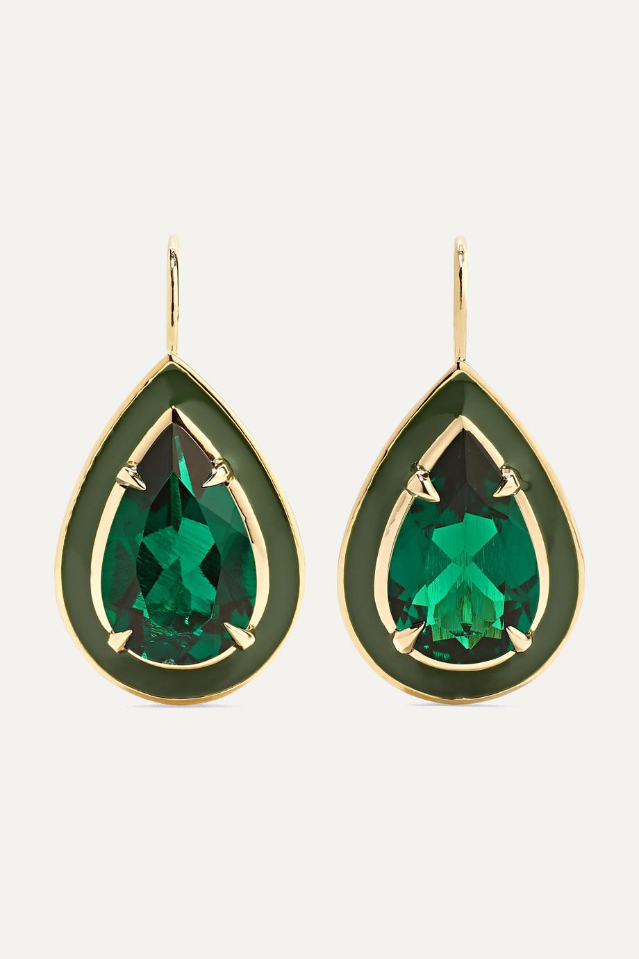 Alison Lou 14-karat gold and enamel emerald earrings