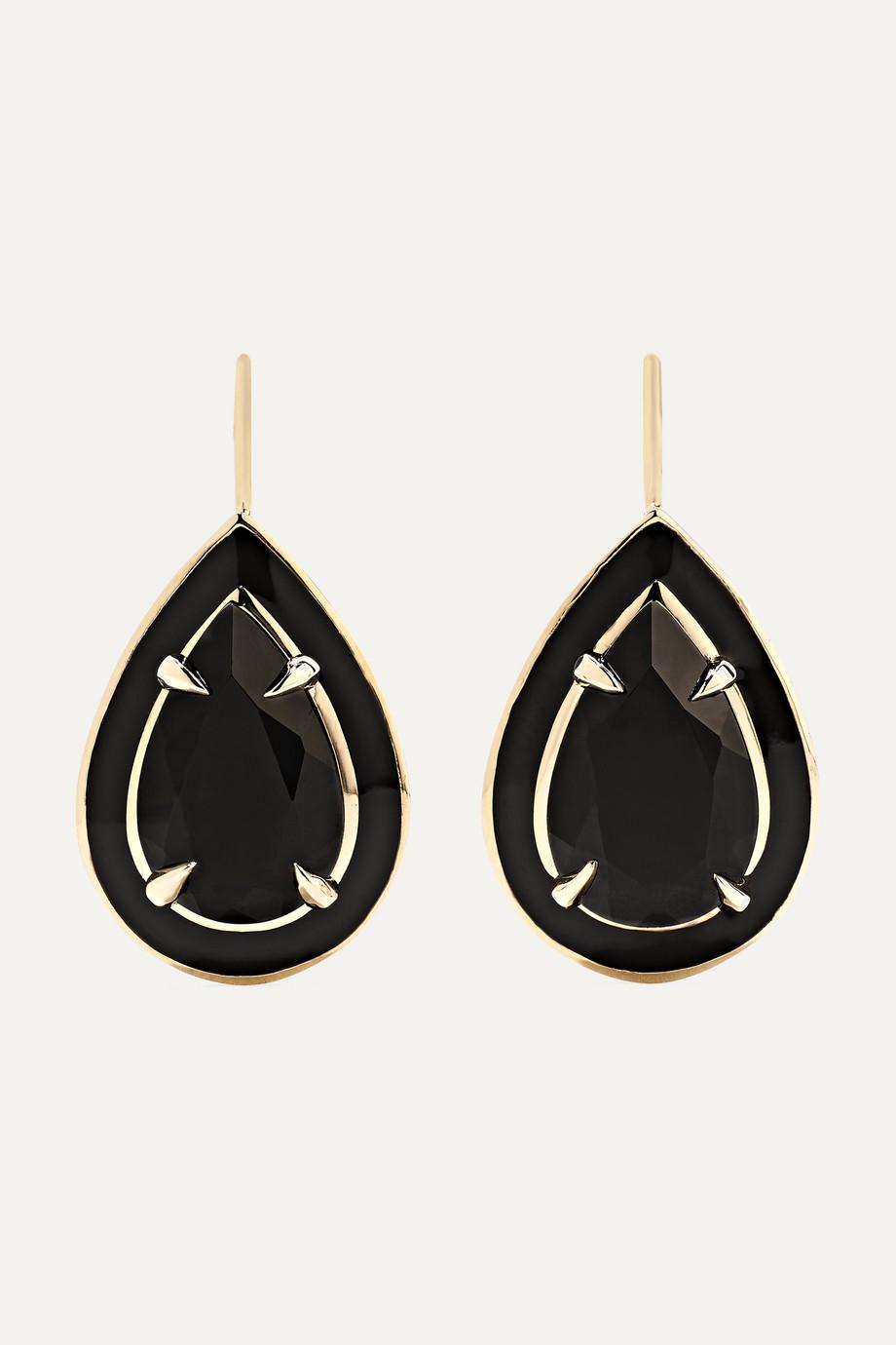 Alison Lou 14-karat gold and enamel onyx earrings