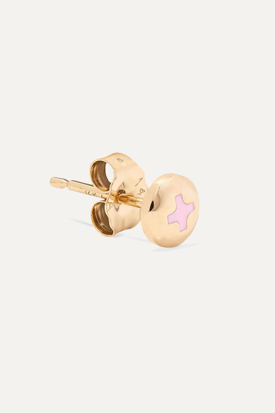 Alison Lou Tiny Screw Ohrring aus 14 Karat Gold mit Emaille