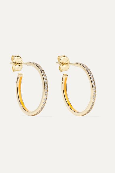 ALISON LOU Linear 14-Karat Gold, Enamel And Diamond Hoop Earrings