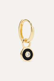 Huggy 14-karat gold and enamel diamond hoop earring