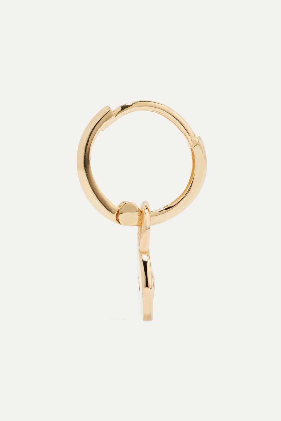 Alison Lou Huggy 14-karat gold and enamel diamond hoop earring