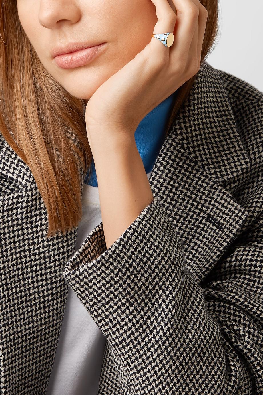 Alison Lou Amour 14-karat gold and enamel ring