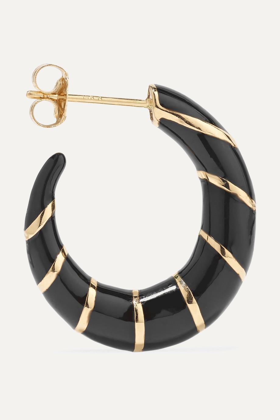 Alison Lou Petite Stripes Creolen aus 14 Karat Gold mit Emaille