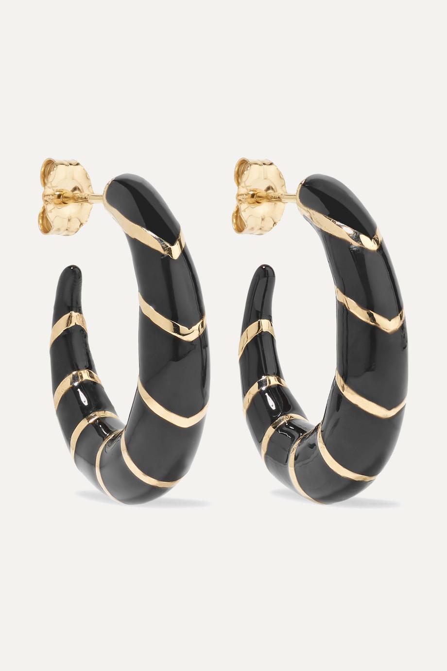 Alison Lou Petite Stripes 14-karat gold and enamel hoop earrings