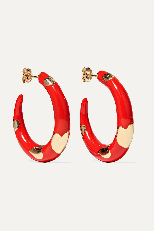 Alison Lou Amour 14-karat gold and enamel hoop earrings