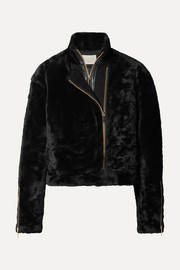 Shave leather-trimmed shearling jacket