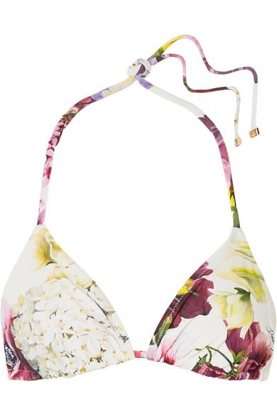 Dolce & Gabbana Haut De Bikini Triangle À Imprimé Fleuri