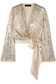Jenny Packham Sequined silk wrap top