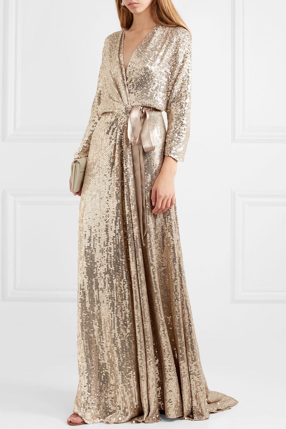 JENNY PACKHAM Satin-trimmed sequined silk wrap gown - what to wear to a new year's party